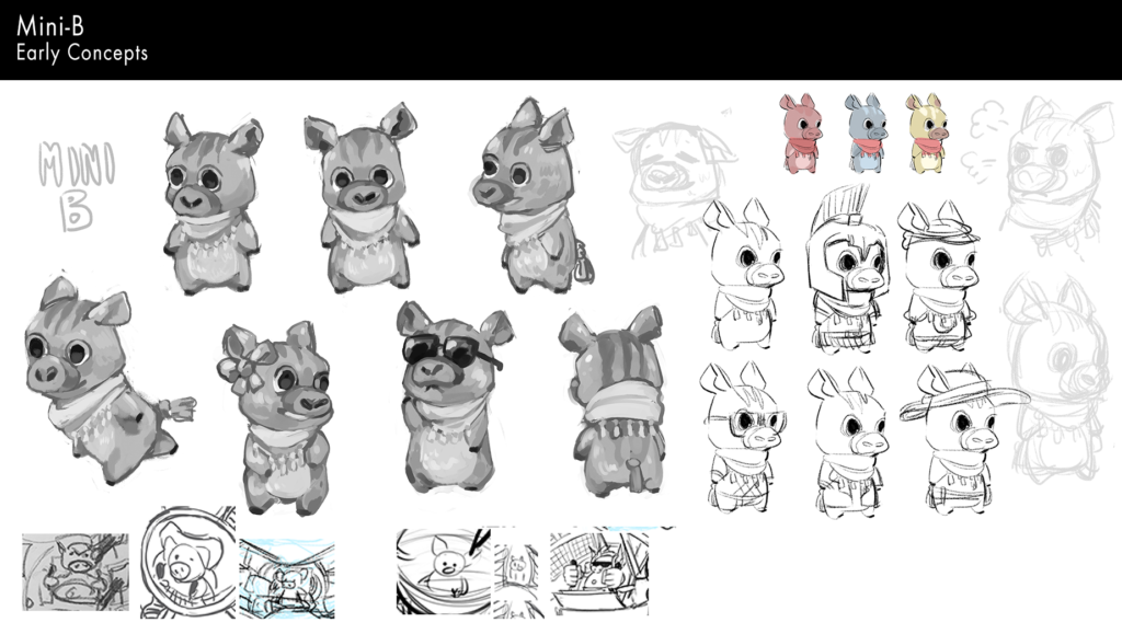 Early concept drawings of Mini B