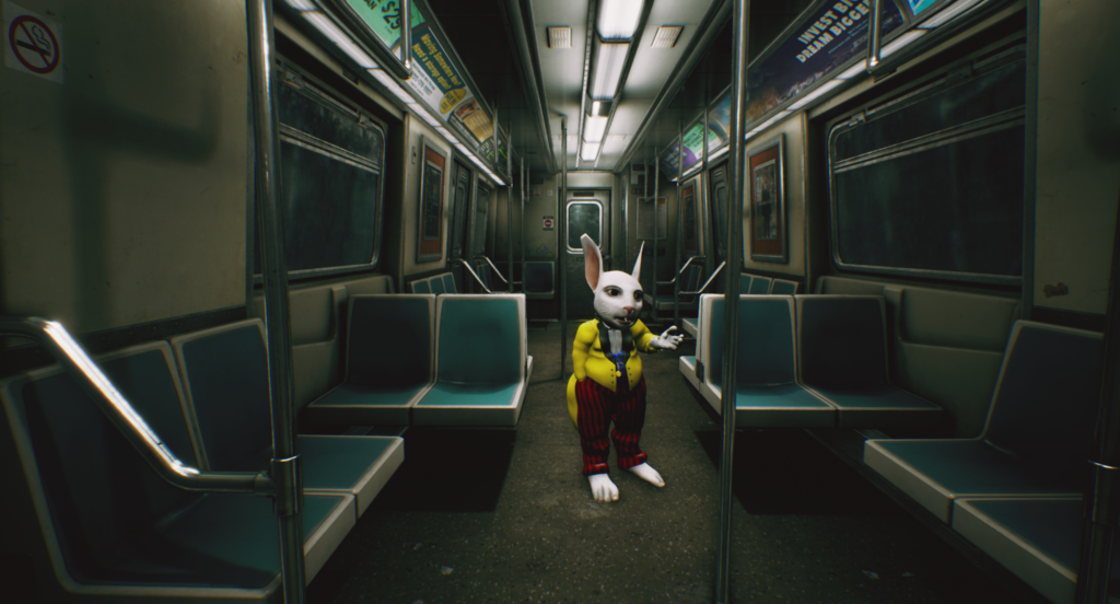 Subway scene with the White Rabbit
